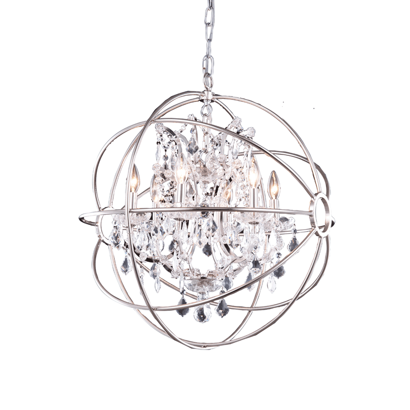 Nickel Crystal Orbit Chandelier
