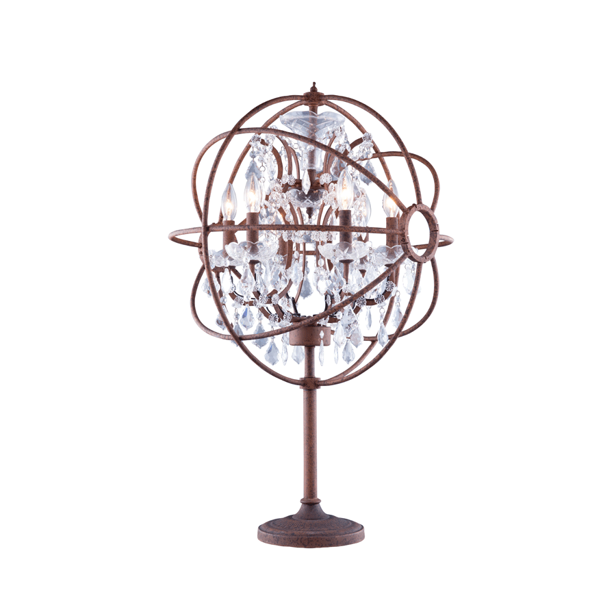 Buy Rust Effect Crystal Orbit Table Lamp | Luxury Furniture