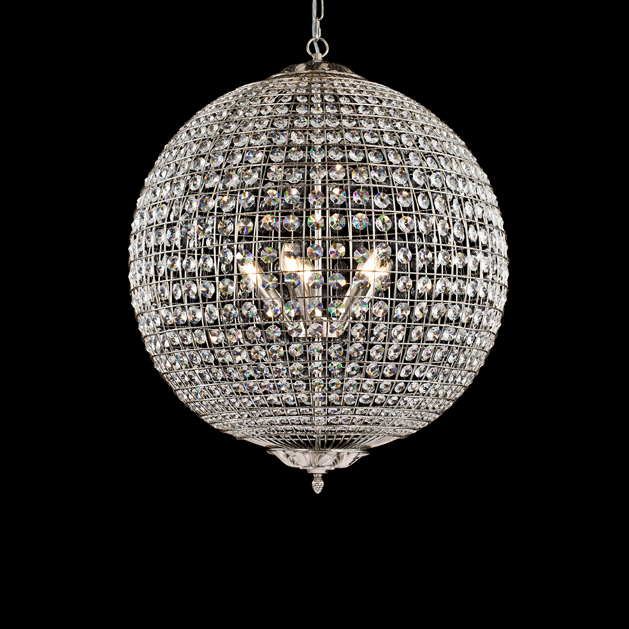 Nickel Crystal Ball Chandelier