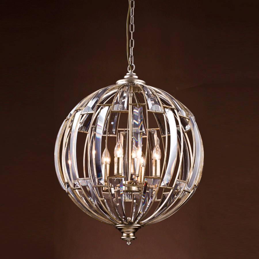Buy Silver Leaf Globe Chandelier Online | Home Furnishing