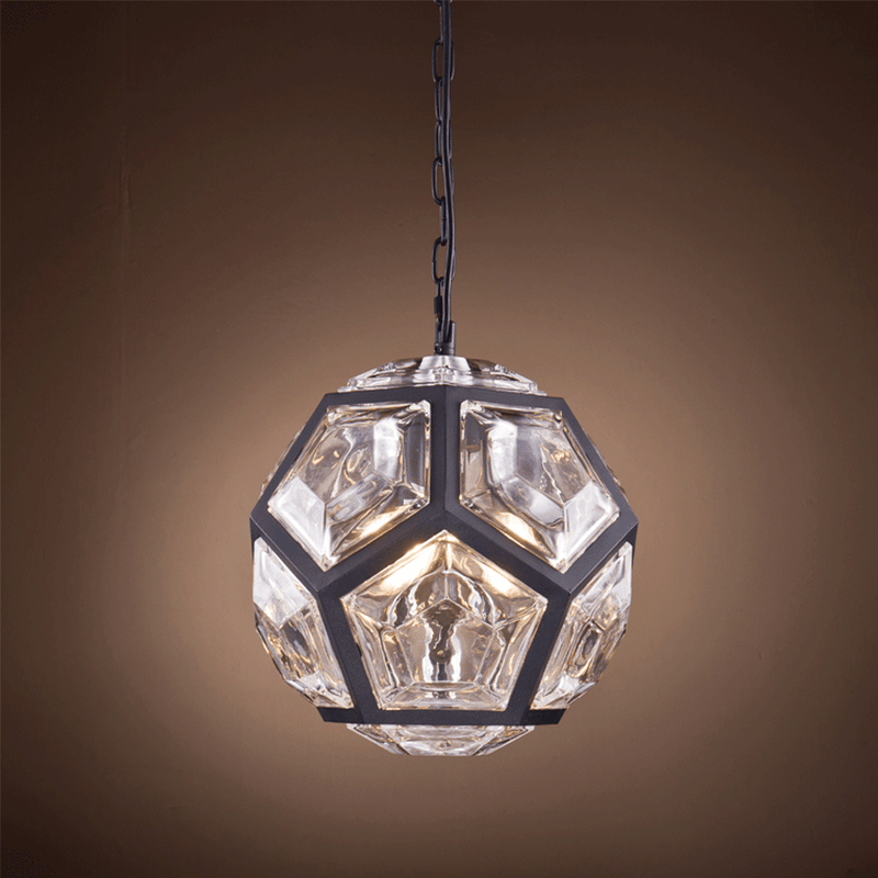 Matt Black Pentagon Chandelier