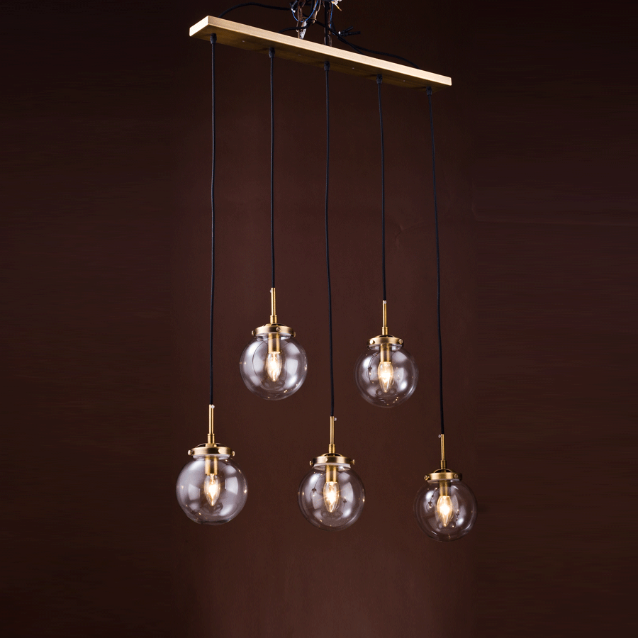 Buy Bronze Modern Globe Linear Chandelier | Home Furnishing