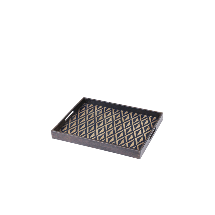 Buy Indigo Diamond Driftwood Tray Online | Home Furnishing