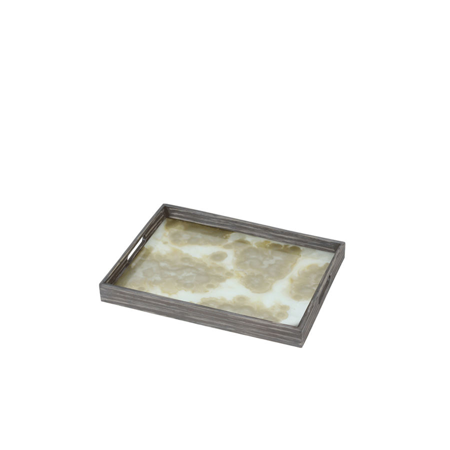 Buy Mist Gold Organic Glass Tray Online | Home Furnishing