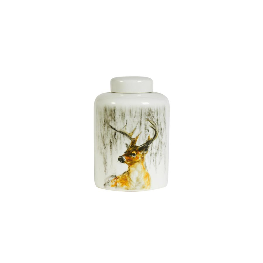 Buy Deer porcelain lidded jar Online | Home Furnishing