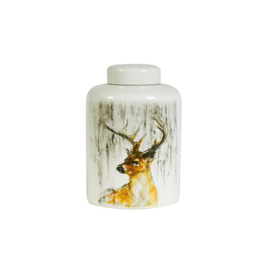 Deer porcelain lidded jar