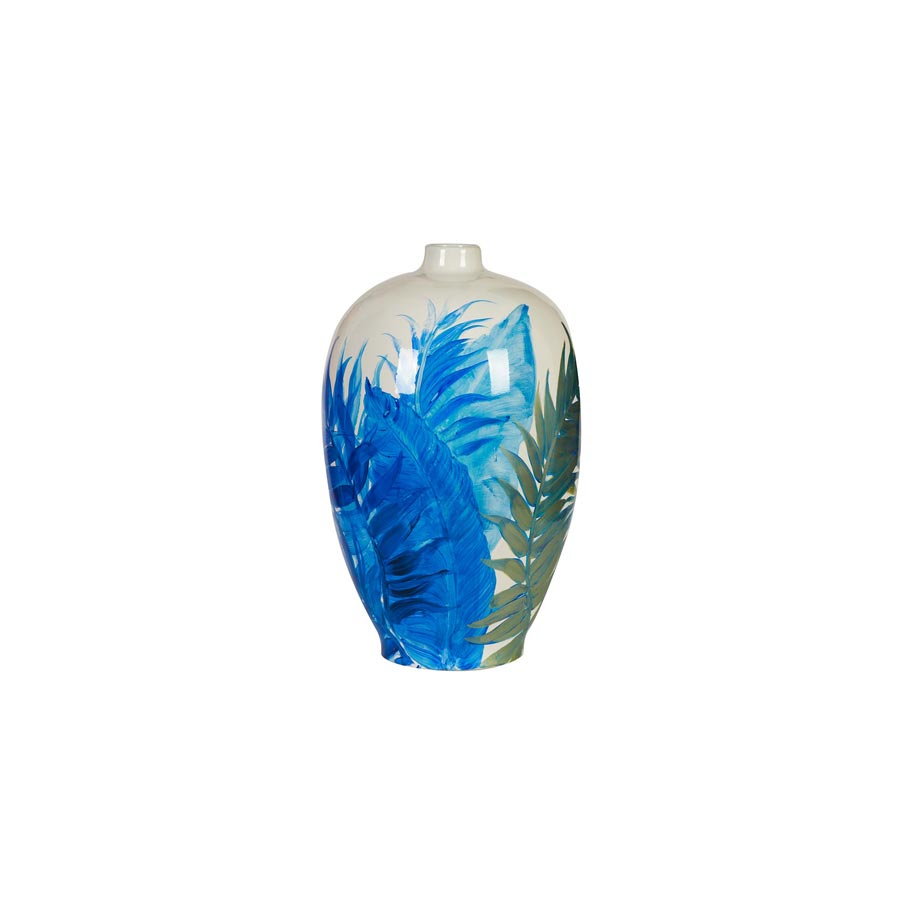 Buy Blue Fronds Ceramic Rounded Vase Online | Home Furnishing
