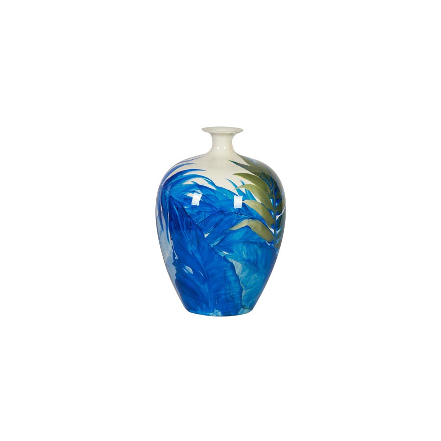 Buy Blue Fronds Ceramic Vase Online | Home Furnishing