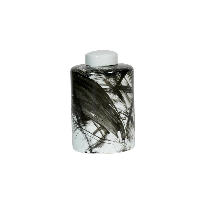 Abstract black porcelain lidded jar