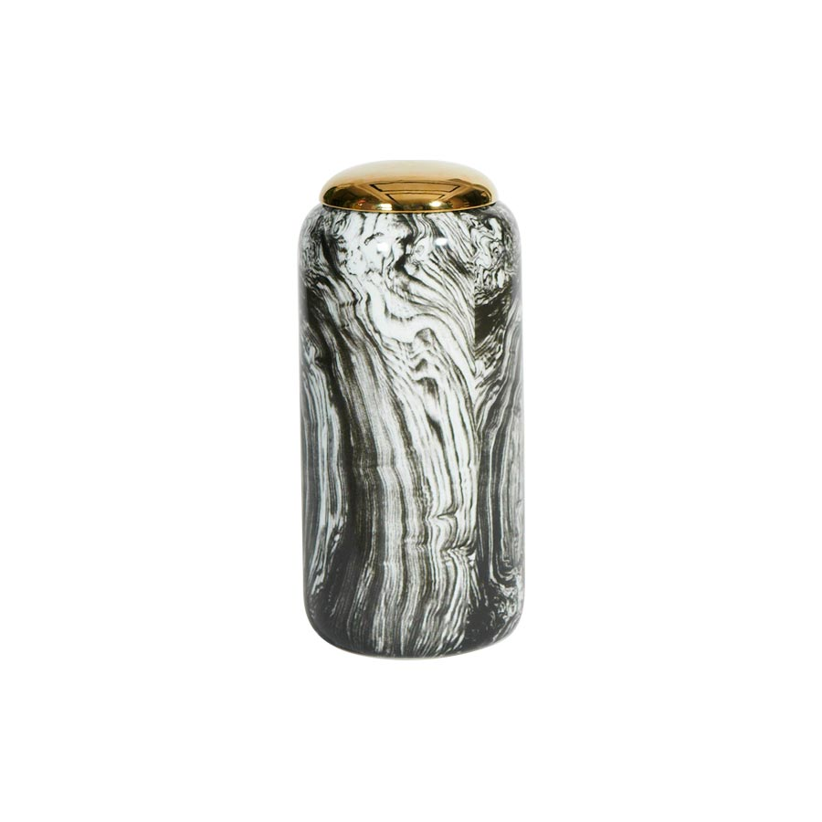Black and white marble porcelain gold lidded vase
