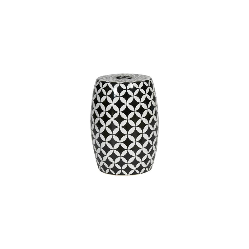 Black Grid Porcelain Stool