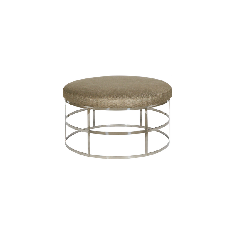 Taupe Linen and Steel Lattice Padded Occasional Table