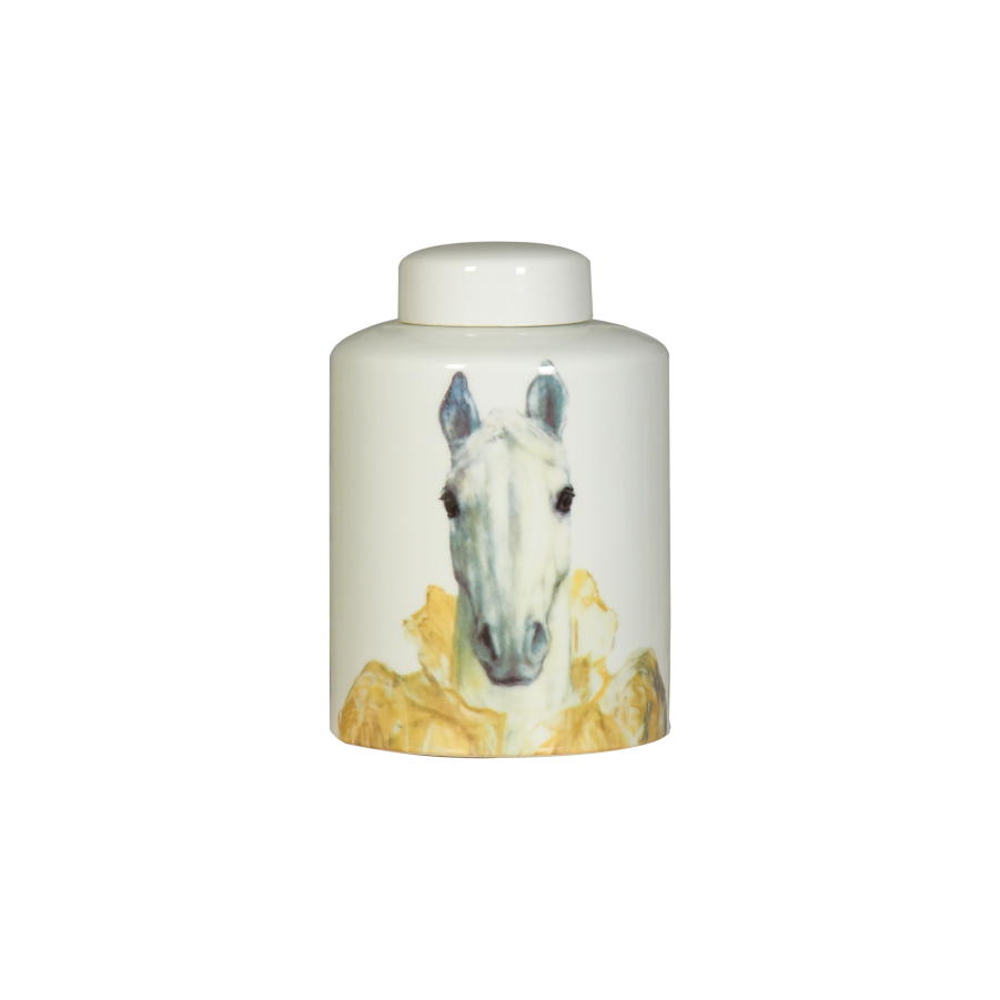 Horse Head Ceramic Lidded Vase