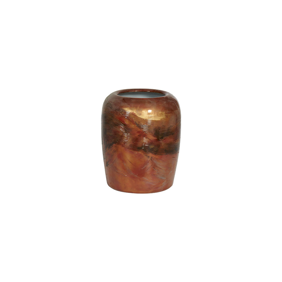 Buy Burnished Red Wide Ceramic Vase Online | Home Furnishing