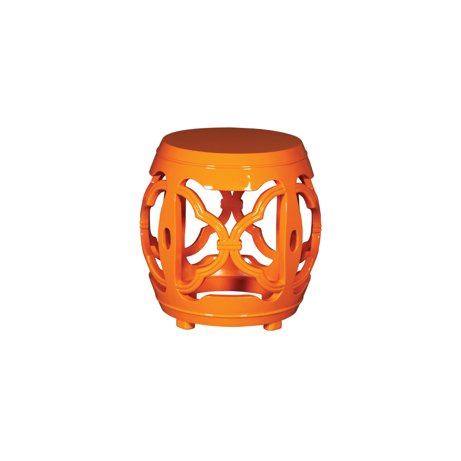 Buy Orange Lacquered Drum Stool Online | Luxury Furniture