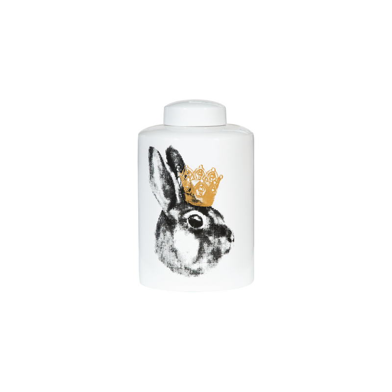 Buy Crowned Rabbit Ceramic Container Online | Home Furnishing