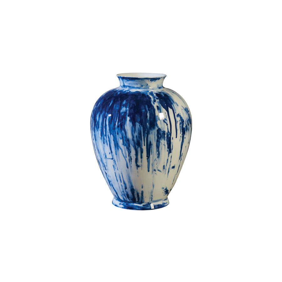 Buy Handpainted Blue Drips Vase Online | Home Furnishing