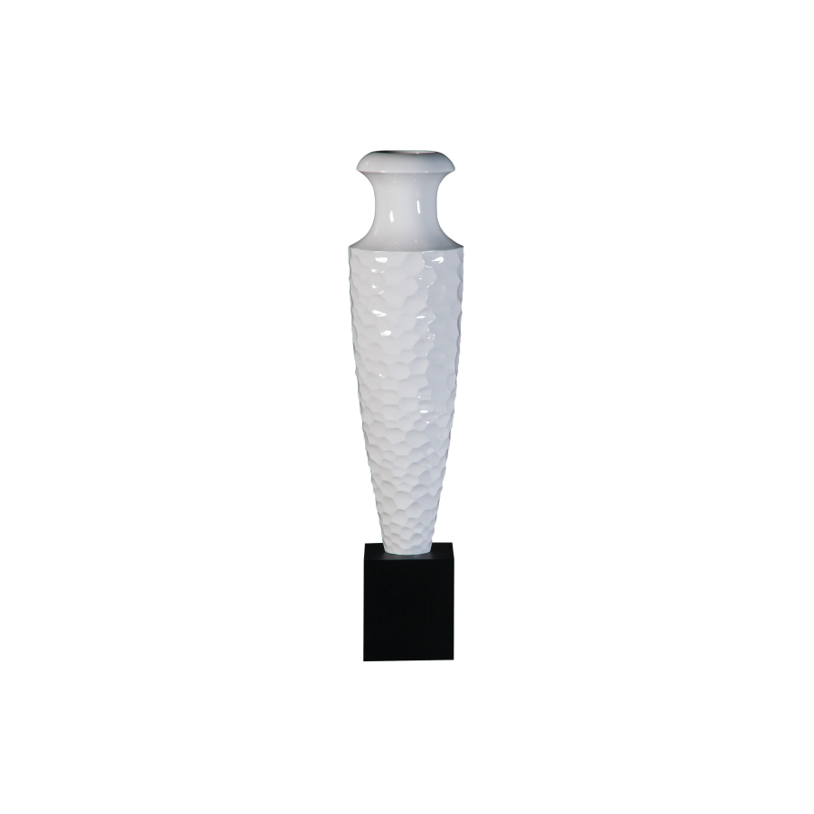 Buy Glossy White Tall Carved Vase Online | Home Furnishing