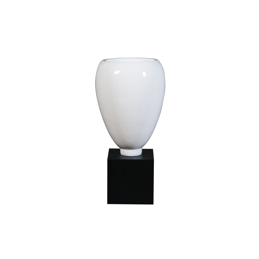 Glossy White Modern Vase on Stand