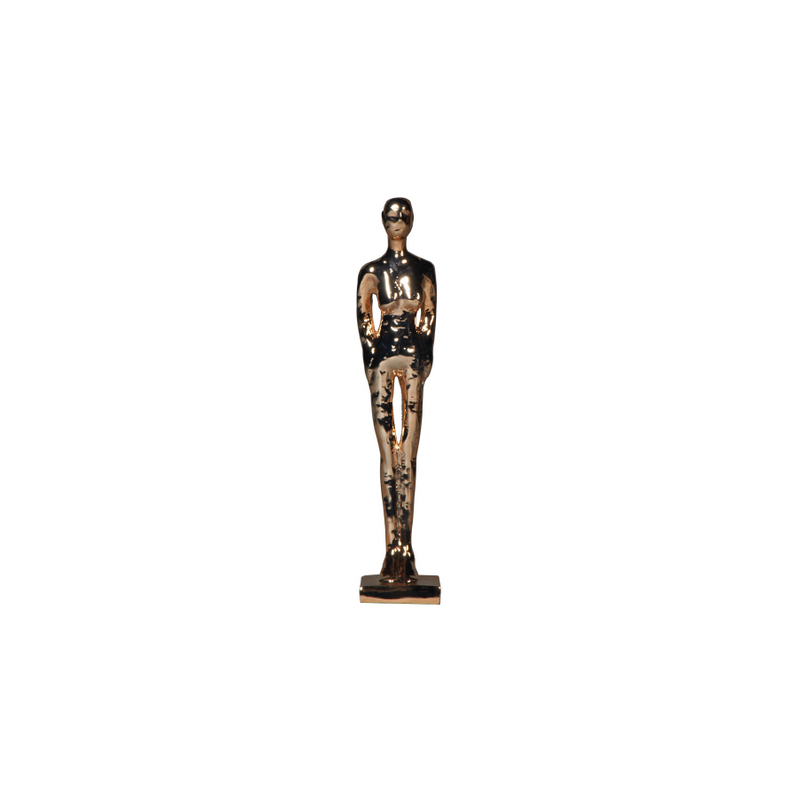 Gold Tribal Man Standing Statue