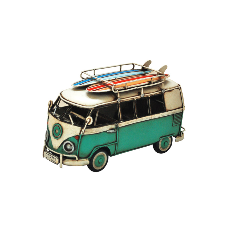 Vintage Blue VW Coaster with Surfboards