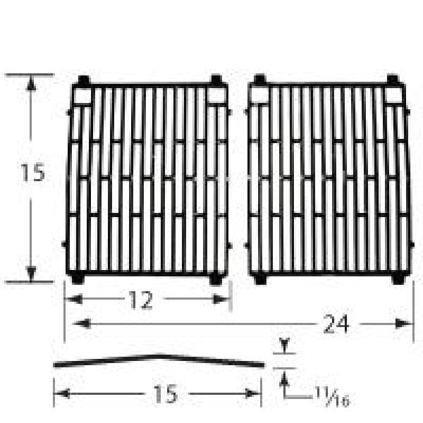 BBQ Grill Broil King Grate 2 Pc Gloss Cast Iron 15 X 24 BCP61702 - BBQ Grill Parts