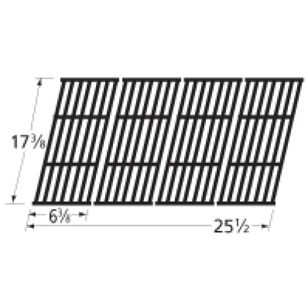 BBQ Grill Broil King Grate 4 Pc Gloss Cast Iron 17 3/8 X 25 1/2 BCP66024 - BBQ Grill Parts