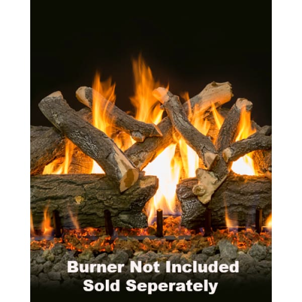 "Fireplace Logs 10Pc Arizona Weathered Oak Charred For Front View Burners 36""  (Burner Not Included)"