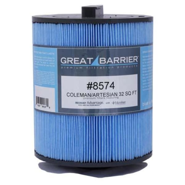 Hot Tub Great Barrier Filter - 32 Sf Artesian/Coleman Single Replacement Filter HTCP8574
