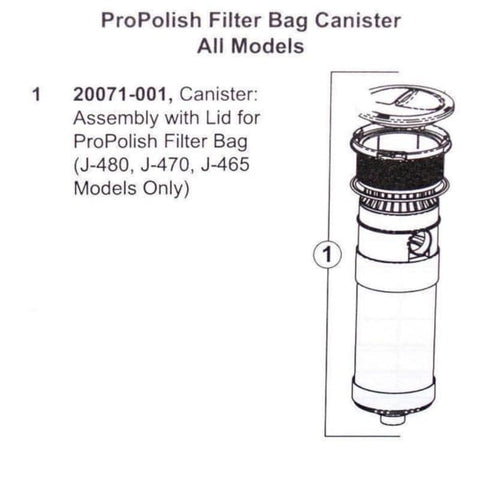 Sundance Spa Filter Part: Spa Pro Polish Filter Bag Canister With Lid HTCPSD20071-001/20071-001 - Hot Tub Parts