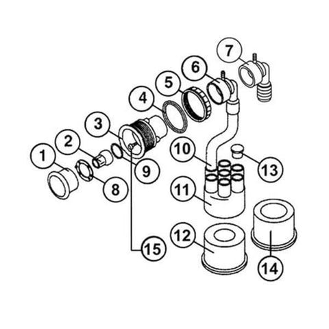 Sundance Spa Manifold: 7Port 3/4 Slipx3Slip HTCPSD6540-784/6540-784 - Hot Tub Parts