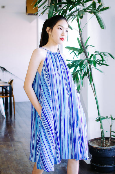 Sylvia Chung Swing Dress in Striped Blue