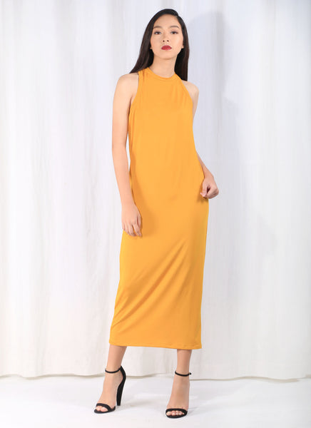 West Coast Race Cocktail Midi Dress in Mustard