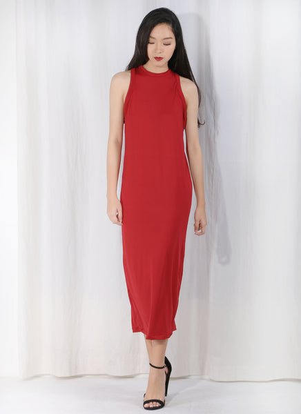 West Coast Race Cocktail Midi Dress in Rouge