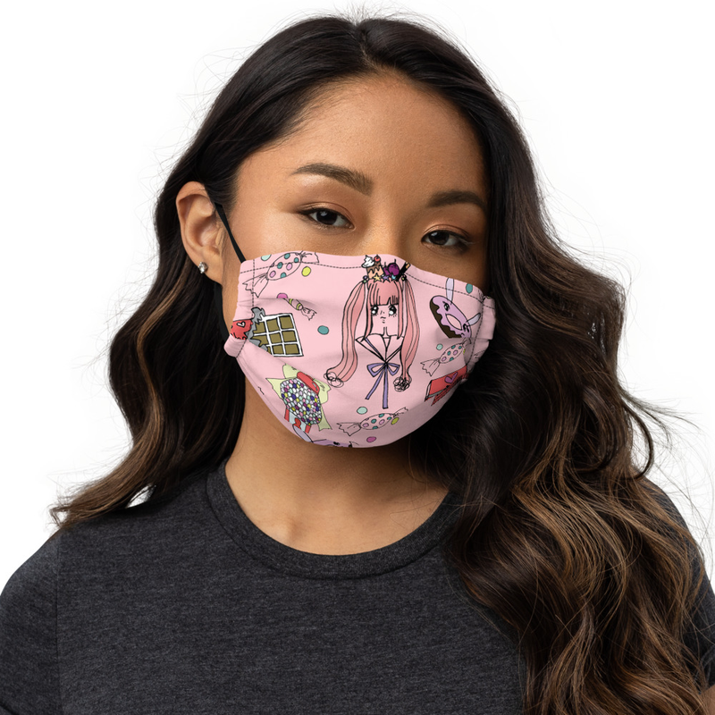 "All-Over Print ""Kawaii Candy World"" Face Mask"