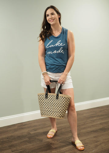 Black Patterned Woven Beach Tote | Sisterhood Style