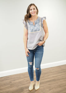 Amelia Aztec Print Striped Top | Sisterhood Style