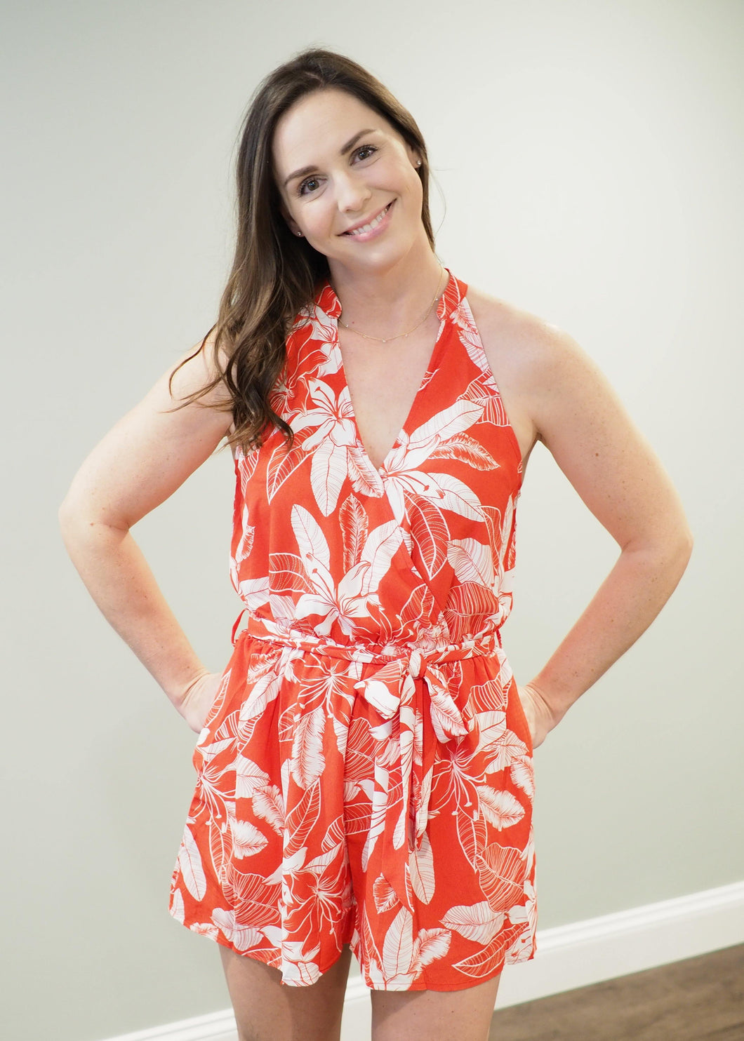 Catalina Red Tropical Romper | Sisterhood Style