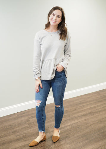 Hannah Heather Grey Peplum Sweatshirt | Sisterhood Style