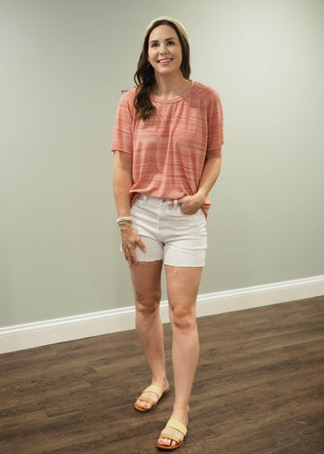 Maya Marsala Striped Knit Tee | Sisterhood Style