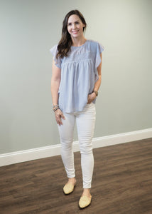Misty Blue Ruffle Sleeve Blouse | Sisterhood Style