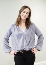 Load image into Gallery viewer, Shiloh Steel Blue Crossover Blouse | Sisterhood Style