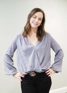 Shiloh Steel Blue Crossover Blouse | Sisterhood Style