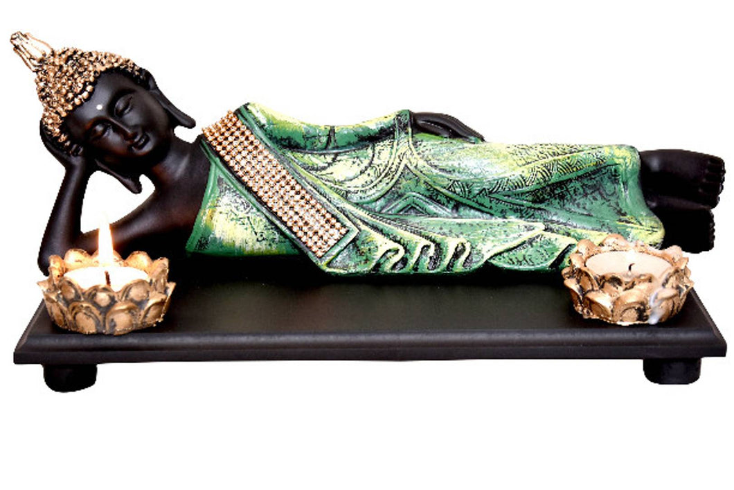 Buddha statue with two tea light holder and wooden tray for gift and home decor size- 31x11x15 cm