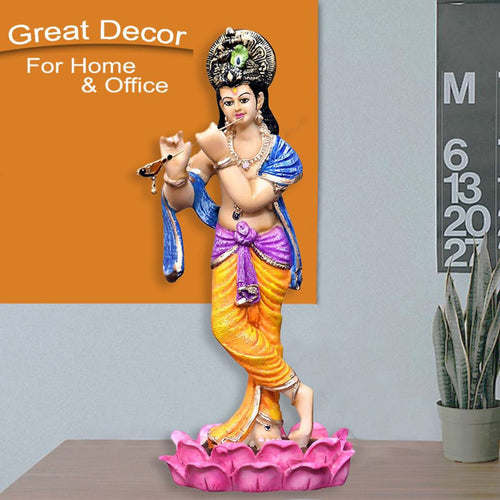 KRISHNA IDOLPLAYING FLUTE FOR GIFT AND HOME DECOR