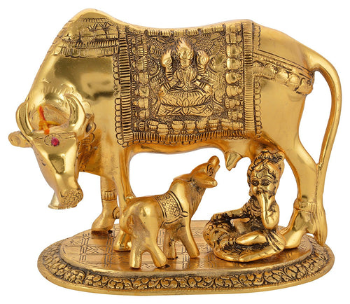 Golden Metal Kamdhenu Cow and Calf and Krishna Figurine - (16 x 14 x 15 cm, Gold) - CRAFT WORLD INDIA