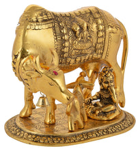 Load image into Gallery viewer, Golden Metal Kamdhenu Cow and Calf and Krishna Figurine - (16 x 14 x 15 cm, Gold) - CRAFT WORLD INDIA