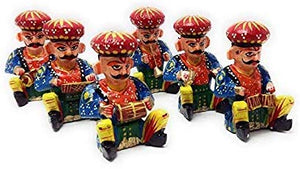 Rajasthani Wood Musician Bawla Set (Brown, Set of 6) in different musicial position, height 4.5 inch approx of each - CRAFT WORLD INDIA
