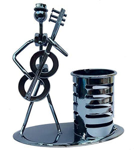 Iron Pen Stand/Pencil Stand and Musician Playing Trumpet Table Top Showpiece - CRAFT WORLD INDIA