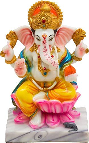 Marble Decorative Lord Ganesha Idol for Home Decor (Multicolor) - CRAFT WORLD INDIA